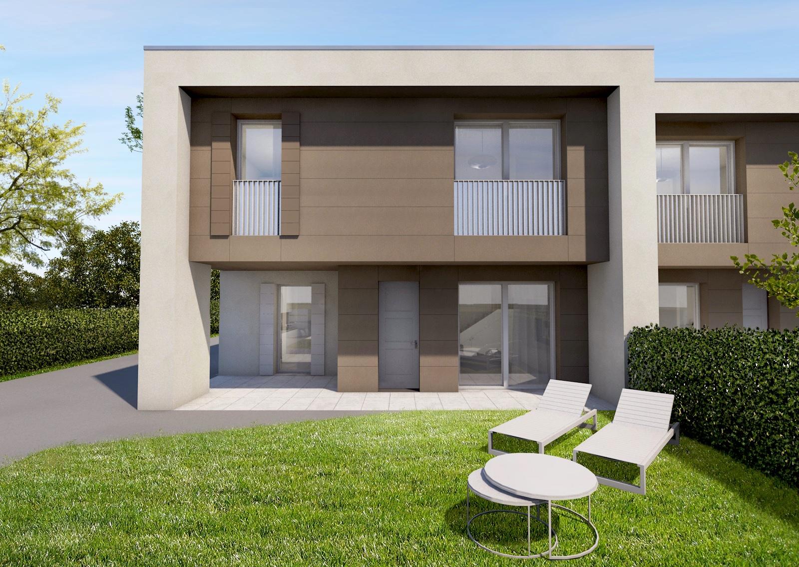 Nuova costruzione edificio bifamiliare for Ville bifamiliari moderne